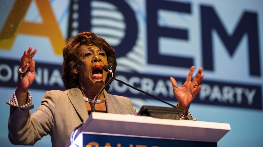 SAN DIEGO, CA - FEBRUARY 24: U.S. Representative Maxine Waters speaks at the 2018 California Democra