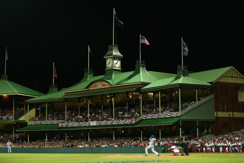 The Dodgers played the opening games of the 2014 season in Sydney, Australia, at the Cricket Ground.