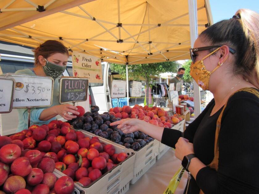 Sasha Noroozi of La Mesa shows Rachel Petitt of Smit Farms the fruit she's interested in at the La Mesa Farmers' Market.