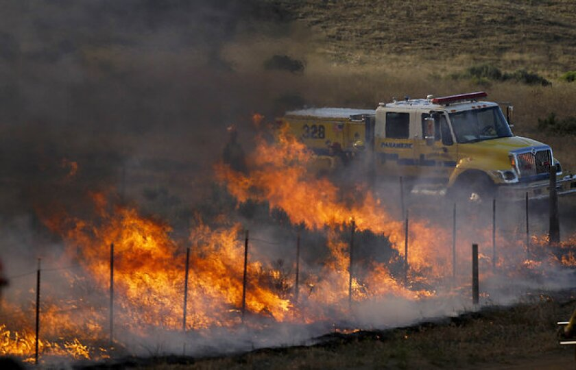 The Grand fire raging out of control in Los Padres National Forest had grown to at least 3,000 acres.