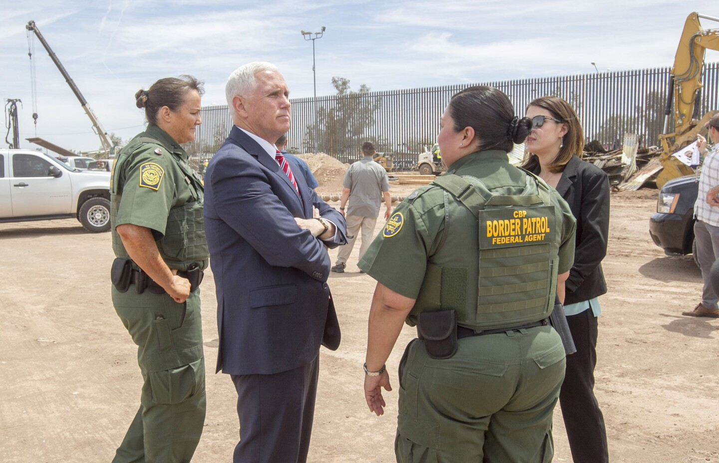 Vice President Mike Pence, center, meets with Border Patrol officials in Calexico on April 30.