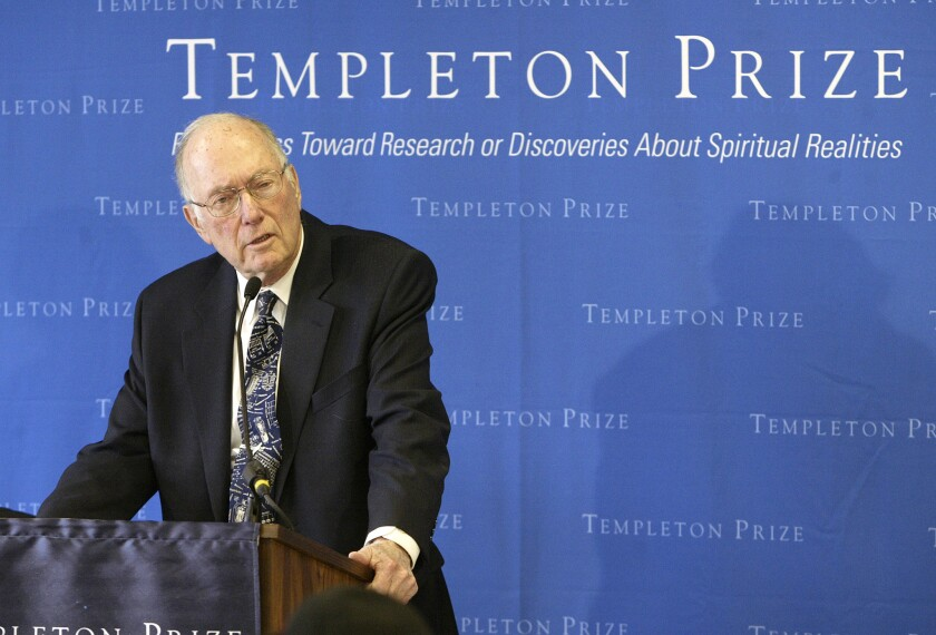 Charles Townes, co-inventor of the laser and a Nobel Prize-winner in physics, speaks after winning the Templeton Prize in New York on March 9, 2005.
