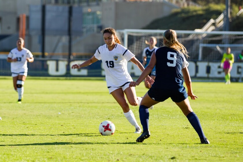 Summer Bales (19) was a senior co-captain of the 2018 UCSD women's soccer team that reached the NCAA Div. II semifinals.