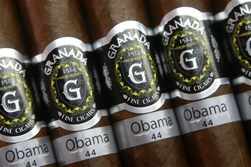 Obama Presidential Series 44 cigars, in honor of President Barack Obama, are displayed at the Segovia Cigars tobacco company in Esteli, Nicaragua, Wednesday, Feb. 4, 2009. The Corona, California, based-Granada 1524 Cigars company hired Nicaragua's Segovia Cigars to produce the Obama series which retails for between $15 and $20 a cigar, depending on the size. (AP Photo/Esteban Felix)