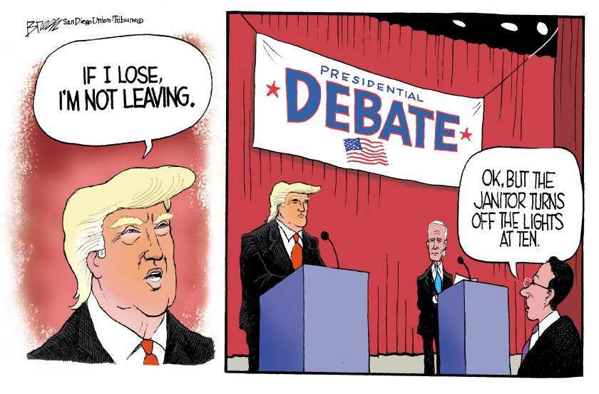 """In this Breen cartoon, Trump says """"If I lose, I'm not leaving"""" and in second panel we see he's talking about the debate"""