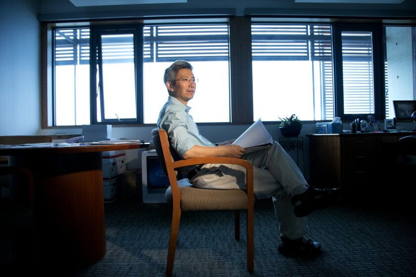 Scripps researcher Shang-Ping Xie, the Roger Revelle Chair in Environmental Science at Scripps Institution of Oceanography, at his office on UCSD campus.