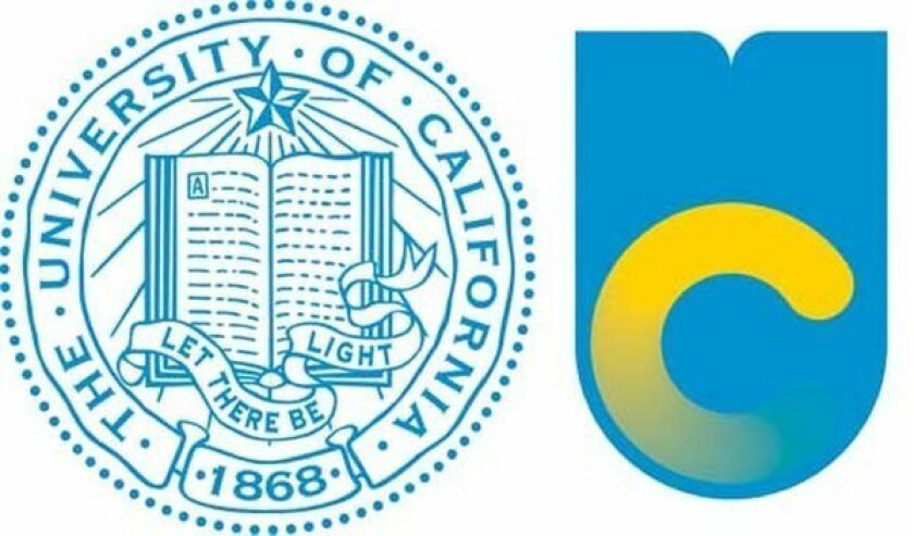 The new UC logo at right adapts elements of the old logo.