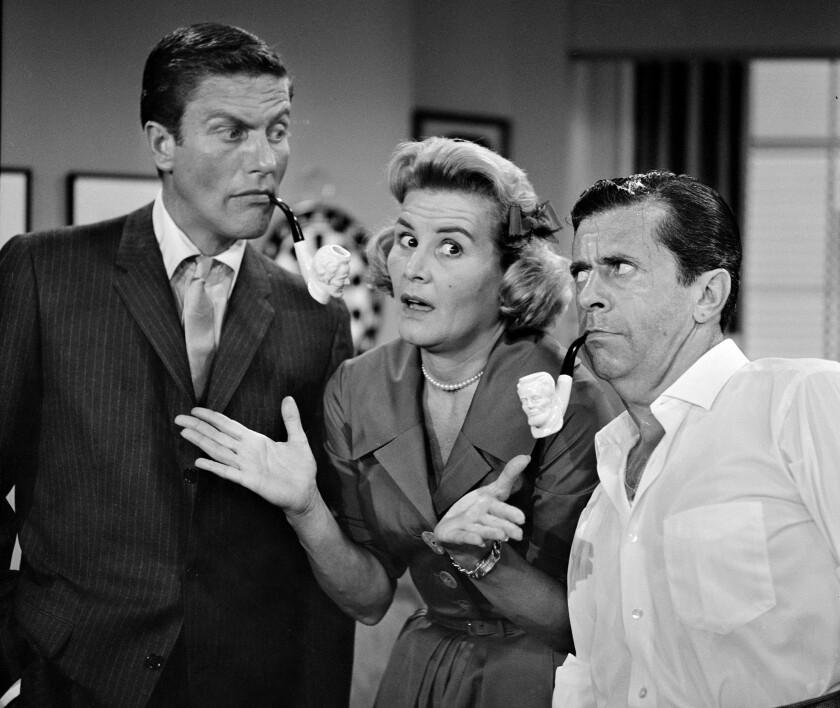 "Dick Van Dyke, left, Rose Marie and Morey Amsterdam on ""The Dick Van Dyke Show"" in 1961."