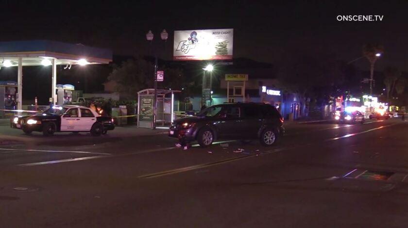 A Dodge SUV struck and fatally injured a pedestrian Friday night on East San Ysidro Boulevard in San Ysidro.
