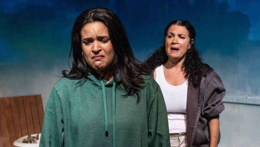 "Gabriela Ortega plays Lupe, and Adriana Sevahn Nichols is her grandmother, Virginia, in Playwrights' Arena's ""Las Mujeres del Mar."""