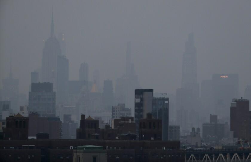A hazy skyline.