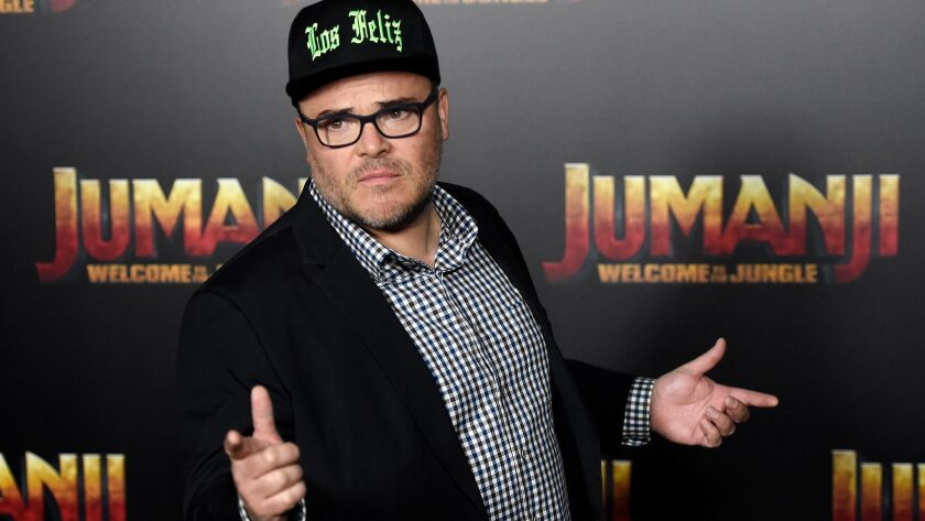 "Jack Black, one of the stars of the upcoming movie ""Jumanji: Welcome to the Jungle,"" at the Sony Pictures Entertainment presentation at CinemaCon 2017."