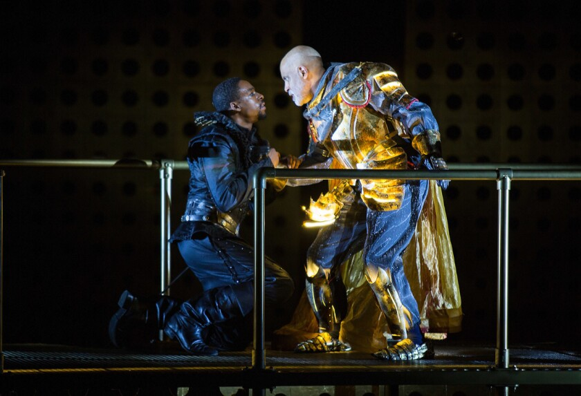 """Grantham Coleman (left) and Michael Genet in the Old Globe's """"Hamlet."""" (Jim Cox)"""