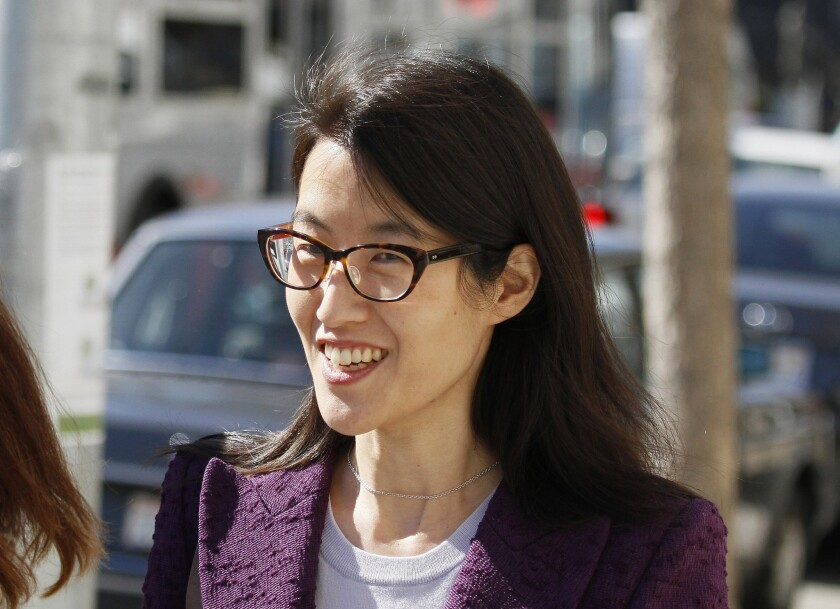 """Ellen Pao stepped down as Reddit's interim chief executive after enduring what she called """"one of the largest trolling attacks in history."""" Above, Pao in February during a high-profile gender bias trial against a Silicon Valley venture capital firm."""