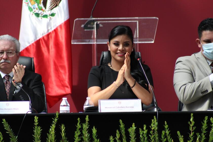 Montserrat Caballero, 39, during her inauguration ceremony Thursday, Sept.30, at Tijuana City Hall.