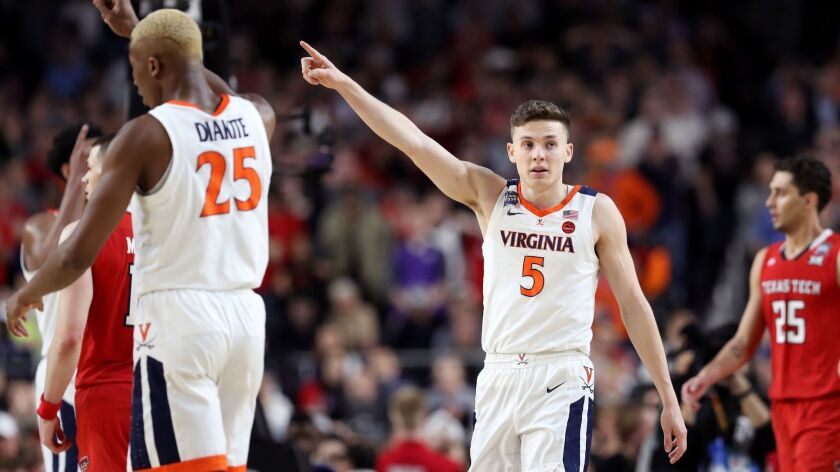 Virginia's Kyle Guy reacts during Monday's victory over Texas Tech in the NCAA tournament championship game.