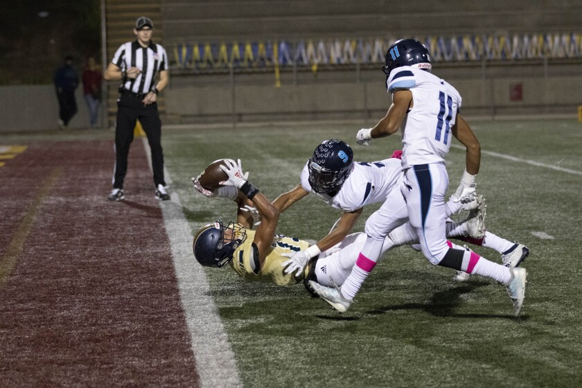 Bonita Vista WR Ron Vann hauls in a touchdown pass against Otay Ranch. Vann finished with 202 receiving yards and TD receptions of 56, 15 and 32 yards.