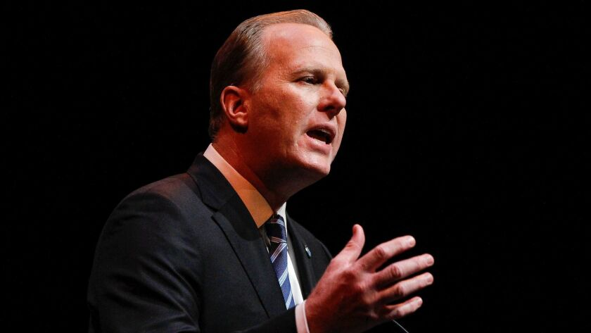 """San Diego Mayor Kevin Faulconer made some format changes while delivering his 2018 """"State of the City"""" speech at the Balboa Theater in San Diego on Jan. 11."""