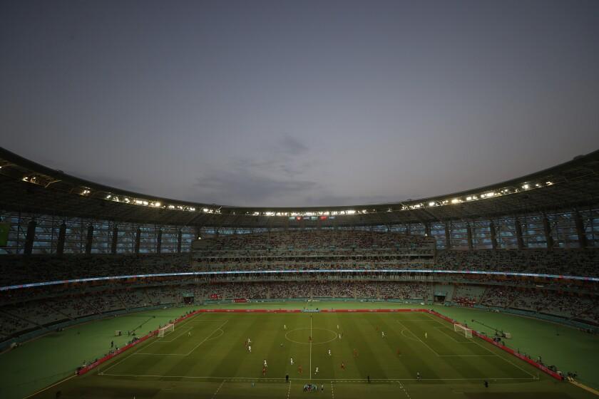 The Baku Olympic Stadium during the Euro 2020 soccer championship group A match between Switzerland and Turkey in Baku, Azerbaijan, Sunday, June 20, 2021. (Naomi Baker/Pool via AP)