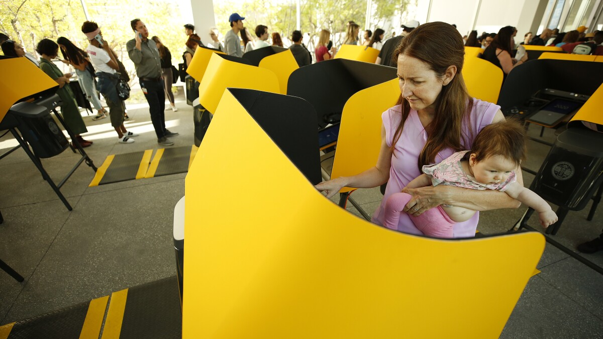 Coronavirus Rules For California Elections Voting In Person Los Angeles Times