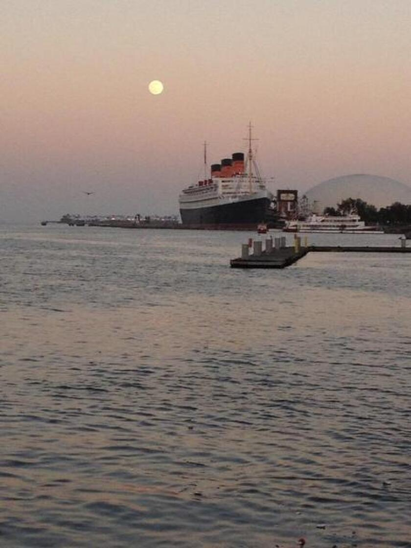 Supermoon over the Queen Mary in Long Beach on Saturday.