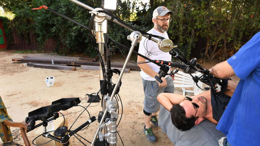 LOS ANGELES, CALIFORNIA NOVEMEBER 11, 2017-Cinematographer Jeff Fitzpatrick prepares for a shoot wit