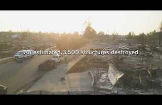 Drone footage of fire damage in Santa Rosa
