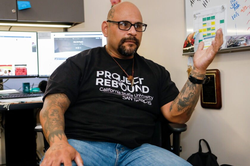 Martin Levya, Project Rebound coordinator at Cal State San Marcos, talks about the program from its new offices on the first floor of Kellogg Library. Project Rebound provides assistive services to students who were formerly incarcerated.
