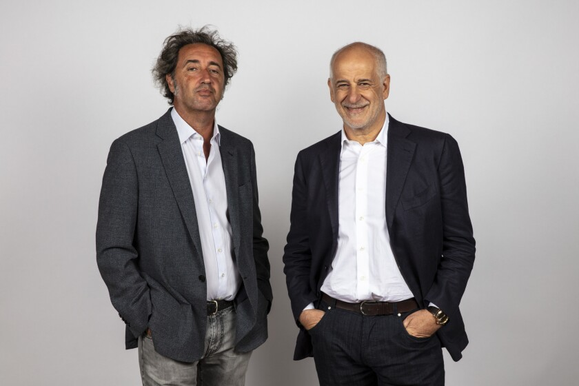 Director Paolo Sorrentino, left, and actor Toni Servillo from the film 'Loro' photographed in the L.A. Times Photo and Video Studio at the Toronto International Film Festival.