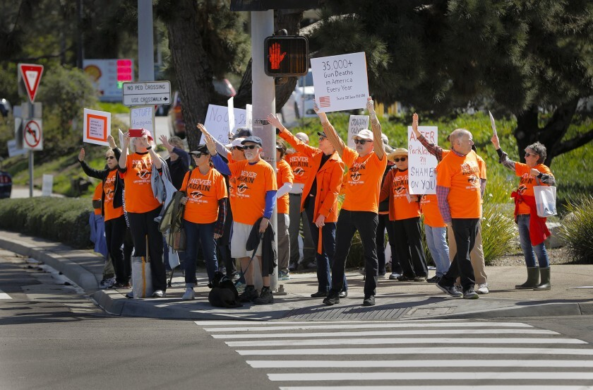 NeverAgainCa supporters demonstrate outside a Crossroads of the West Gun Show at the Del Mar Fairgrounds last year.