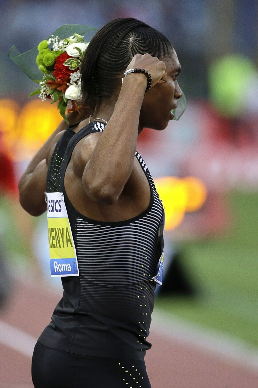 South Africa's Caster Semenya celebrates after winning the the women's 800m event at the Golden Gala IAAF athletic meeting, in Rome's Olympic stadium, Thursday, June 2, 2016. (AP Photo/Gregorio Borgia)