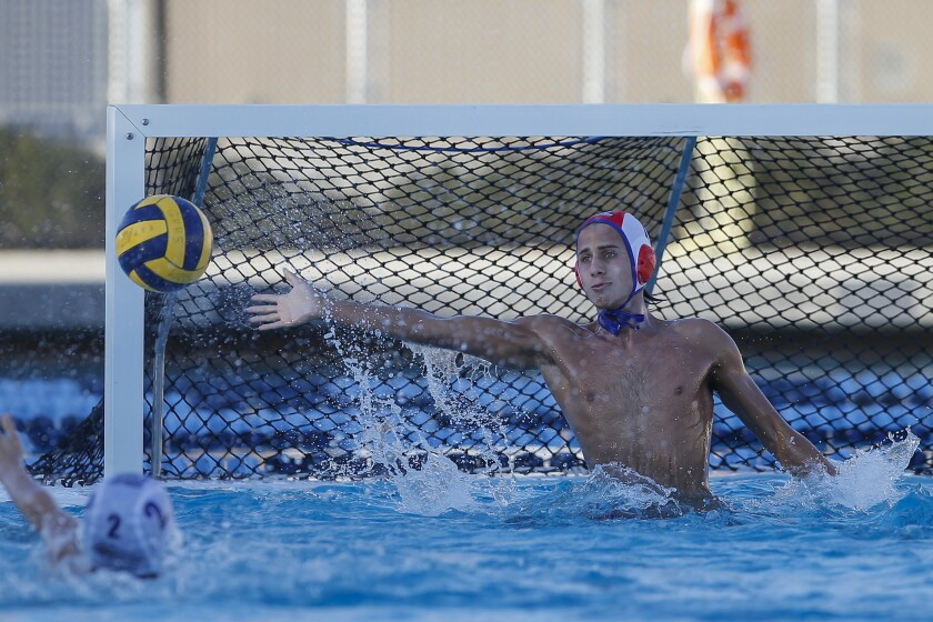 Steele Canyon goalie Max Lithopoulos blocks a shot in a match earlier this season. The Cougars will play La Jolla in the San Diego Section Open Division quarterfinals on Wednesday.