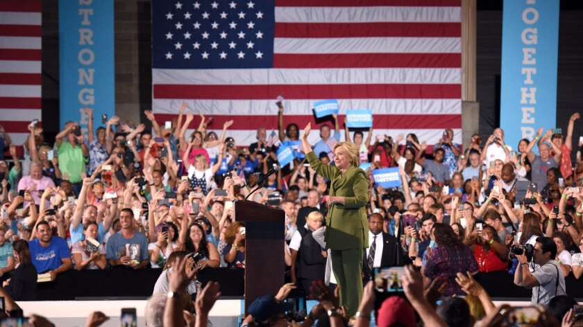 Democratic presidential candidate Hillary Clinton campaigns at the Florida State Fairgrounds Entertainment Hall in Tampa on July 22.