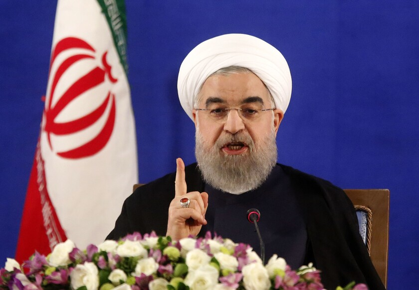 Iranian President Hassan Rouhani holds a news conference in Tehran on May 22, 2017.