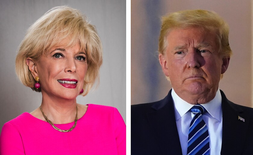 """Leslie Stahl, correspondent for """"60 Minutes""""  and President Trump."""