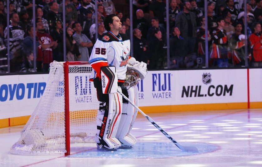 San Diego Gulls goalie John Gibson looks on during the National Anthem before a game against Ontario.