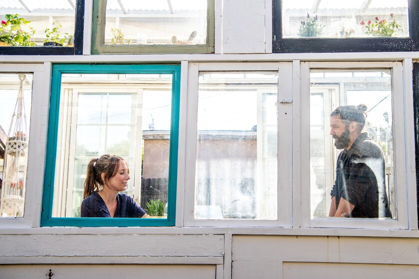 Jenny Grosso and Trevor Morris are framed like portraits in windows of their greenhouse.