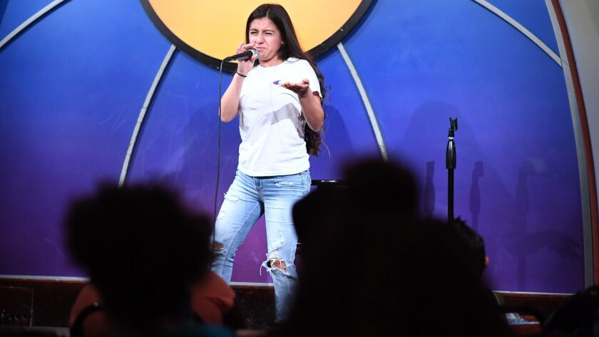 LOS ANGELES, CALIFORNIA JULY 7, 2018-At-risk kid Ilene Delgado gives her routine at the Laugh Factor