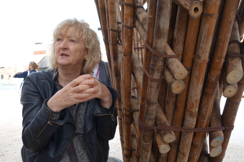 Yvonne Farrell leads journalists on a tour of the Venice Architecture Biennale in 2018