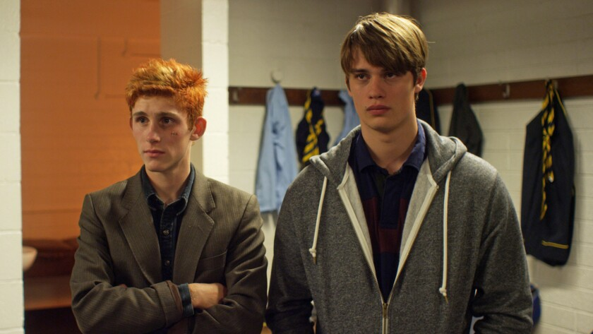 "Fionn O'Shea, left, and Nicholas Galitzine star in ""Handsome Devil,"" set in an Irish all-boys boarding school whose chief religion is rugby."