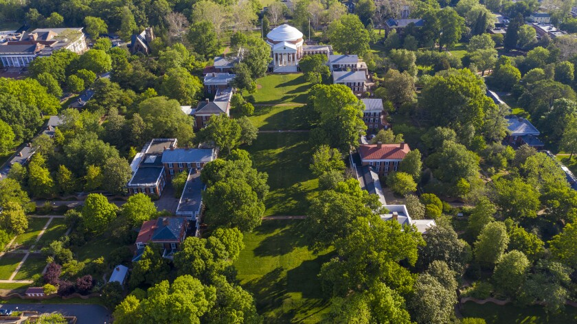 The University of Virginia campus features serpentine walls, which were originally meant to keep slaves from public view.