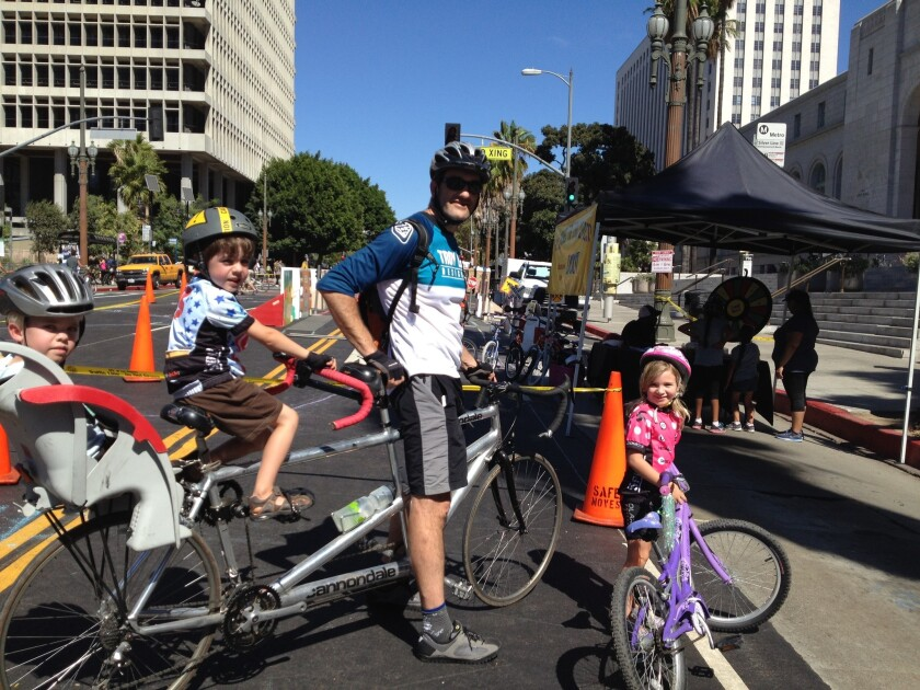 Scott Desposato and his family came from San Diego to participate in CicLAvia.