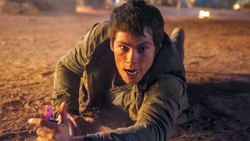"""Dylan O'Brien, seen here in """"Maze Runner: The Scorch Trials,"""" was injured on the set of the franchise's third film."""