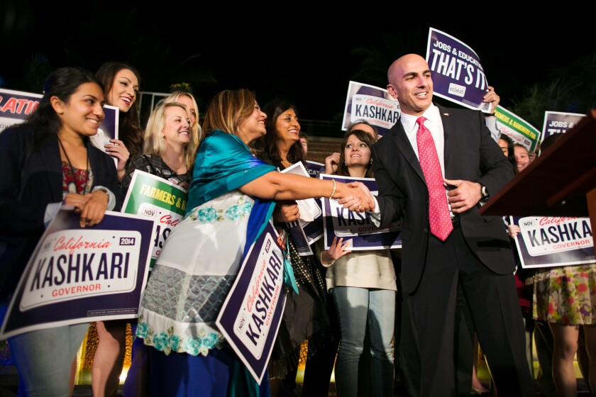 Neel Kashkari, the Republican candidate for governor last year, greets supporters at his election-night party in Costa Mesa on Nov. 4. On Wednesday, Kashkari endorsed Assemblyman Rocky Chavez in his bid for the U.S. Senate.