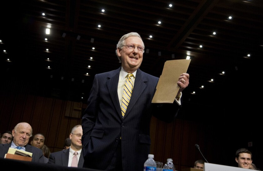 Senate Minority Leader Mitch McConnell (R-Ky.) faces a stiff challenge in November from Democratic Secretary of State Alison Lundergan Grimes.