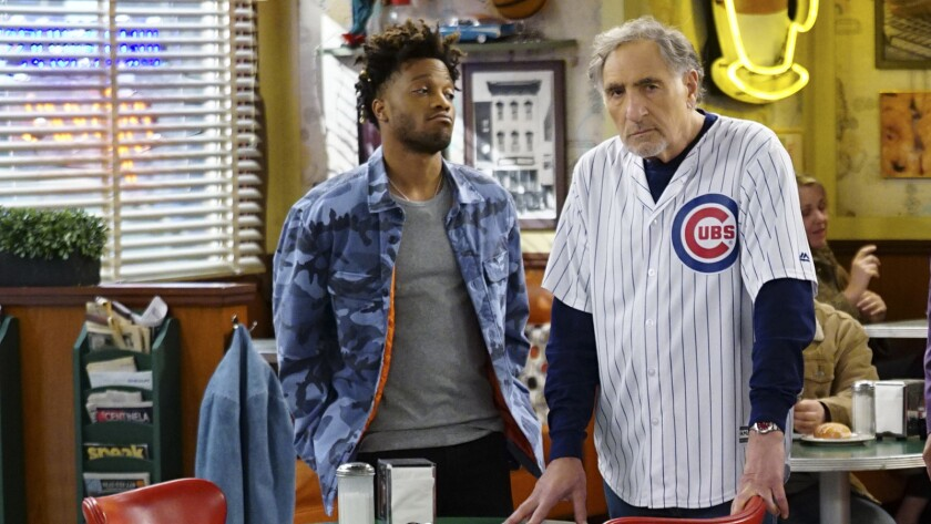 """It's opening day for the Cubs, but Arthur (Judd Hirsch, right) doesn't have a ticket for the first time in 40 years in the CBS comedy """"Superior Donuts."""" Jermaine Fowler also stars."""