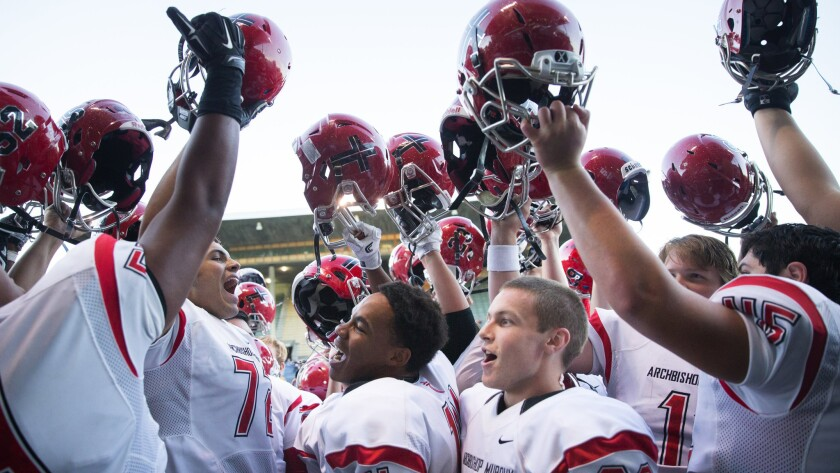 Archbishop Murphy players celebrate their dominant, 59-0 win over Bishop Blanchet on Sept. 9.