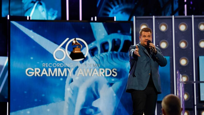 NEW YORK, NEW YORK--JAN. 25, 2018--James Corden, host of the 60th Annual Grammy Awards rehearses for