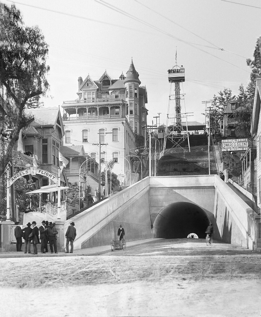 Dec. 31, 1901: Angels Flight on opening day at the corner of 3rd and Hill streets in downtown Los An