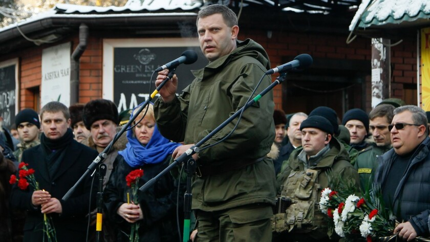 Alexander Zakharchenko, leader of the self-proclaimed Donetsk People's Republic, speaks in downtown